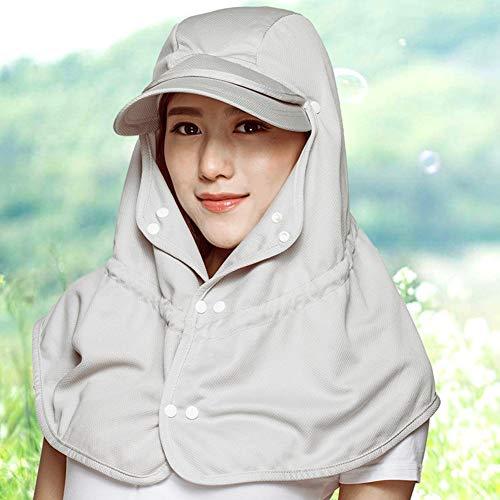 ZXL Zomerhoed, zonnehoeden dames stofdichte zonwering muggenbescherming verpakkbaar, 5 kleuren, met sjaal/zonder sjaal Optionele zonnehoed Lady (kleur: kaki met sjaal) Kaki-with Shawl