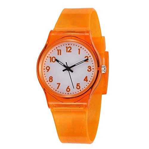 SANDA Kinderuhr Jungen,Transparente PVC-Plastik-Kinderuhr-Quarz-Tabelle einfache kleine frische Uhr Kleinkind-Schüler-Geschenk-Tabelle-Orange