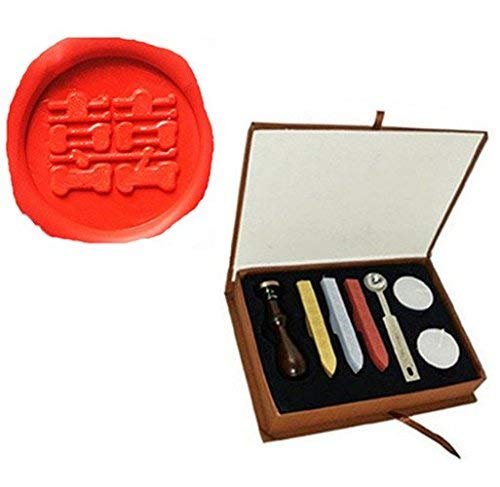 Vintage Chinese Character Double Happiness Picture Logo Wedding Invitation Wax Seal Sealing Stamp Sticks Spoon Gift Box Set Kit