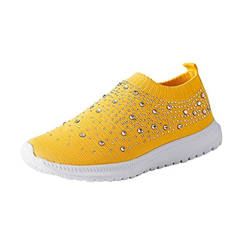Fitzac Freizeitschuhe für Damen Mesh fliegende gewebte Strass Turnschuhe Turnschuhe Damen Damen Turnschuhe Mode All-Match-Schuhe (Yellow, 39)