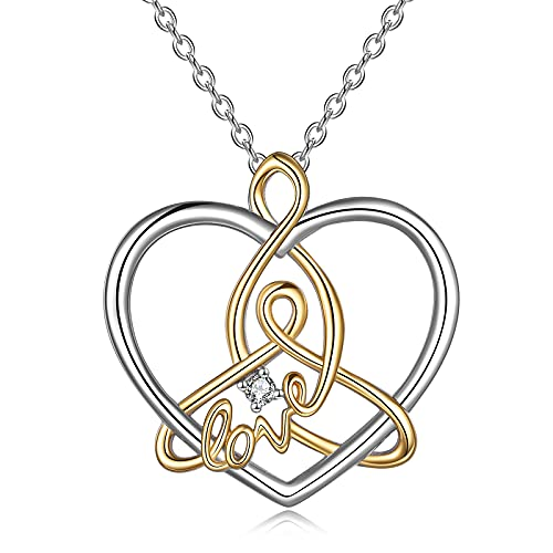 YFN Celtic Knot Necklace Sterling Silver Mother Daughter Love Heart Pendant Necklace Gifts for Women Mom Grandma