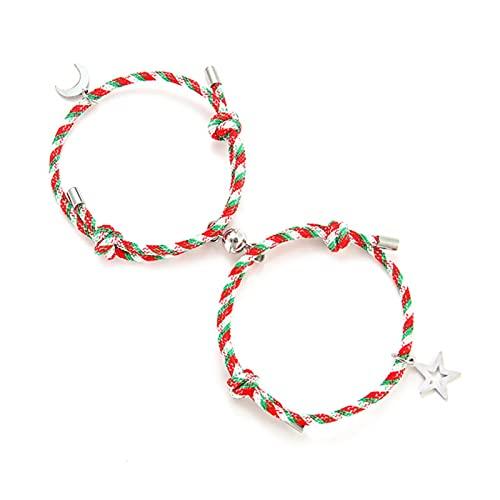 2 unids / set pulsera con imán romántico colgante de pareja Braslet para los amantes del día de San Valentín regalo presente-B