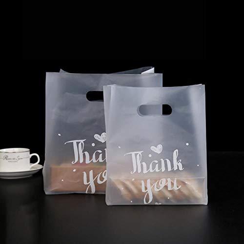 Piore 100 stuks plastic geschenkzak met handvat verjaardagsfeestje decoratie huwelijksgunsten voedsel brood snoepzak cake verpakking tassen, m