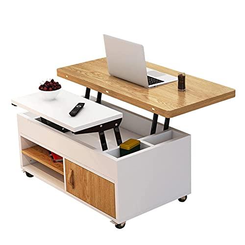 Levantamiento de mesa de café Mesa de comedor plegable Escritorio de computadora Muebles de la sala de estar modernos Muebles de comedor creativo multifuncional Mesa de extremo móvil con compartimient