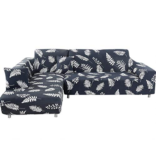 ele ELEOPTION Sofa Überwürfe elastische Stretch Sofabezug 2er Set 3 Sitzer für L Form Sofa inkl. 2 Stücke Kissenbezug (Schwarz Blattes)