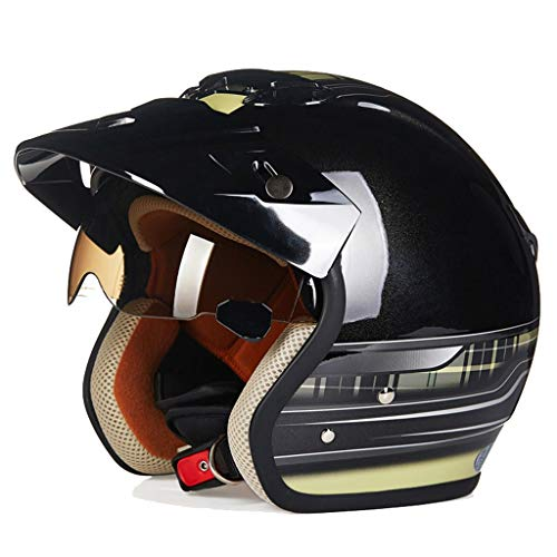 Casque de moto en plein air, demi-casque pour adulte, casque vintage unisexe (Couleur : E-XL)