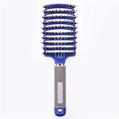 Mädchen Haarspalte Massage Kamm Haarbürste Borst Nylon Frauen Nass Curly Detangle Haarbürste Für Salon Friseurstyling Werkzeuge (Color : Blue)