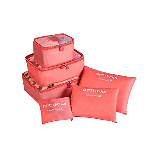Wxianmy 6Pcs Solid Color Travel Storage Bag Set Multifunction Storage Organizer Bag Portable Drawstring Storage Bag for Men Women Gift Travel Home