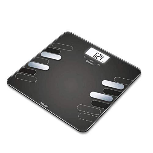 Beurer BF600 - Báscula Diagnóstica Bluetooth, Báscula de Baño Corporal Compatible con la App en Español Health Manager, 4 Electrodos, Android y iOs, Negro