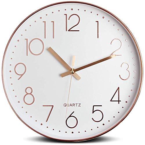 Tebery Reloj de pared silencioso decorativo grande para la decoración casera, 12 pulgadas, 30 cm,color oro rosa