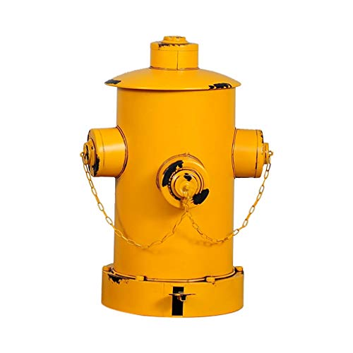 JIEIIFAFH Eisen Hydrant Abfalleimer Retro alte Industrie Wind Ölfass Trash Can Creative-Restaurant Innen Dustbins Garbage Can (Color : Yellow)