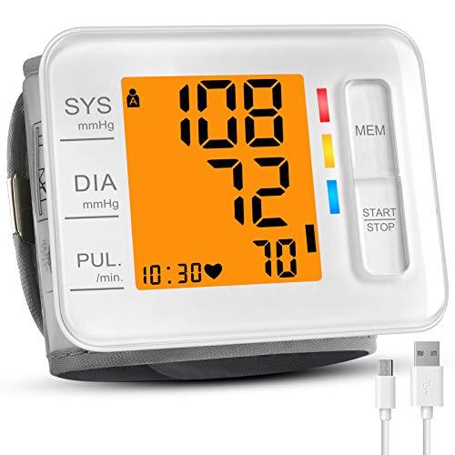 Wrist Blood Pressure Monitor, CARMAS Blood Pressure Monitor Wrist Cuff with USB Charging, Backlight LCD Display Digital Blood Pressure Monitor for Home Use Detects Irregular Heartbeat