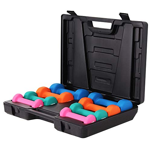 GORILLA SPORTS® Aerobic Kurzhantel-Set 10 kg mit Koffer – Hantelkoffer mit 8 Gymnastikhanteln Vinyl für Fitness, Pilates, Gymnastik