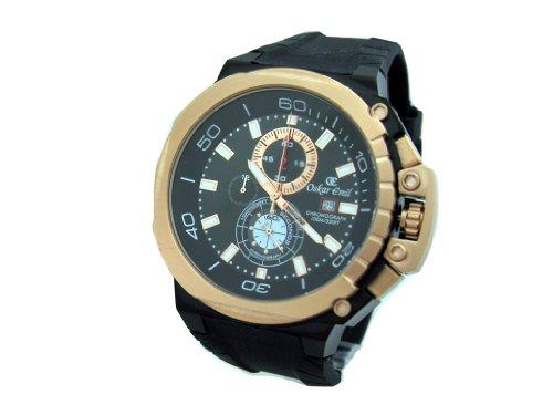 Oskar Emil Mon RG – Reloj para Hombres, Correa de Goma Color Negro