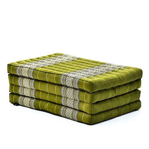 Leewadee futón Plegable Standard – Colchoneta para Doblar de kapok orgánico Hecha a Mano, colchón de Invitados para el Suelo, 200 x 80 cm, Verde