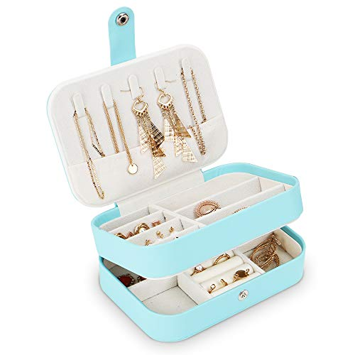 DIFFLIFE Jewelry Organizer Box,2019 New Jewelry Storage Organizer Mirrored Mini Travel Case Lockable Black Faux Leather for Valentine's Day Gift Beads, Rings, Earrings (Blue) (YUNDA1998)