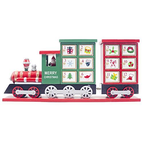 Ruda Calendario de Adviento de madera con cuenta regresiva pintada en forma de tren, decoración de almacenamiento de dulces