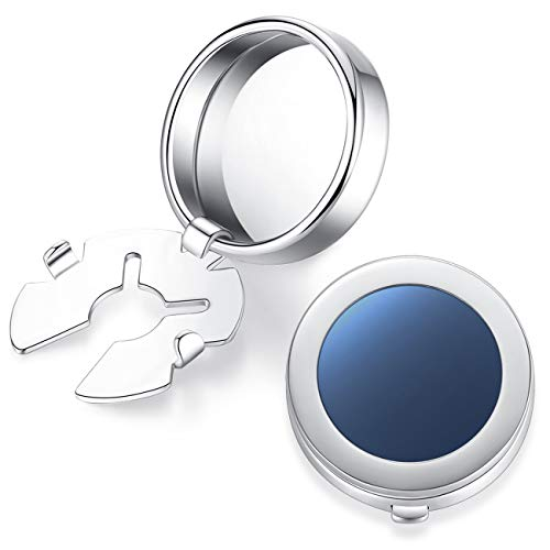 HONEY BEAR Cubre Cubiertas de Botones Concha de mar Blanco Redonda Pearl/Onyx Negro Gemelos,para la Camisa ordinaria de los Hombres (Azul)
