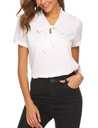 ACEVOG Womens Bow Tie Neck Short Sleeve Casual Work Chiffon Blouse Tops White-short Sleeve Medium