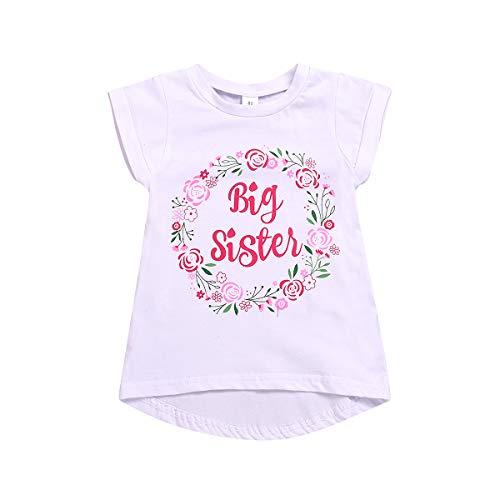 Große Schwester T-Shirt Kleinkind Mädchen Blumen Kurzarm Top Bluse Große Schwester Ankündigung Shirt 1-6J,Weiß,100/3-4J