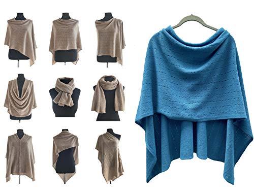 Poncho de cachemir para mujer, bufanda de viaje, chal con botones, de punto, pashmina, portátil, ligera, multisentido, 100% puro, regalo ético, verde azulado, azul oscuro, verde