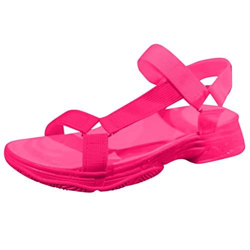 RQWEIN Women's Wide Width Flat Sandals Comfortable Open Toe Ankle Strap Dress Shoes Casual Flatform Platform Wedge Sandals(Hot Pink,7.5)