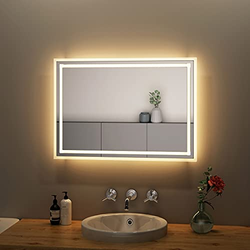 S'AFIELINA Espejo de baño con iluminación LED, 50 × 70 mm, espejo de pared con iluminación, color blanco cálido, 3000 K, IP44, bajo consumo