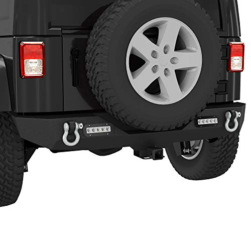 LEDKINGDOMUS Rear Bumper Compatible with 07-18 Jeep Wrangler JK and JK Unlimited with 2x LED Lights & 2' Hitch Receiver Textured Black