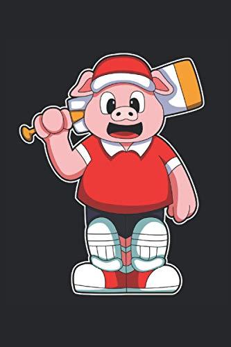Cricketspieler Notizbuch, 120 Seiten: Schwein - Geschenke - Cricketspieler Notizbuch - Tagebuch für Frauen, Männer und Kinder - 6x9 Zoll (Ähnlich DIN A5) - Kariert