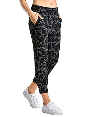 CRZ YOGA Women's Naked Feeling Workout Yoga Jogger with Pockets High Waist Drawstring Comfy Lounge Capri Pants Camo Multi 1 Small