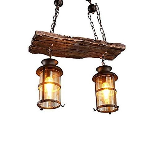 Indoor Kronleuchter 2 Vintage Holz Kronleuchter Antike Lampe Industrie Antik Holzbalken Antik Schwarz Metall Glas Laterne Kronleuchter 2-flammig 55,1 cm Durchmesser x 45 cm H