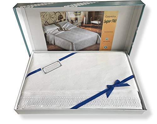 SpazioTessile Coperta Copriletto sopra Coperta Robusto Broccato 5 Colori 100% Cotone Pizzo (Beige, Matrimoniale Maxi 300x250)