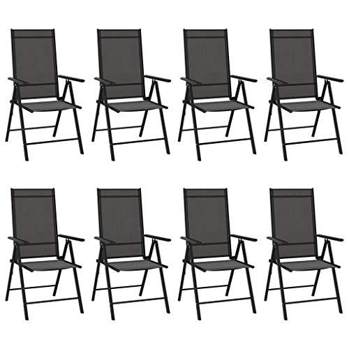 vidaXL 8X Sillas de Jardín Plegables Reclinables Sillón Terraza Exterior Balcón Patio Asiento Butaca Mobiliario Muebles Textilene Negro