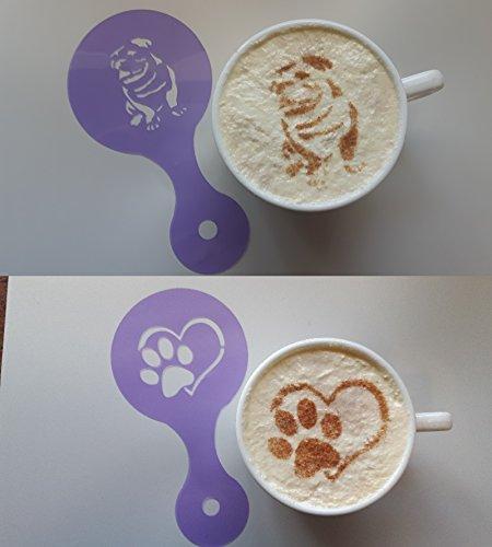 Bulldogge und Pfote im Herzen Kaffeetasse Schablonen wiederverwendbares Geschenk cappucino Latte Café