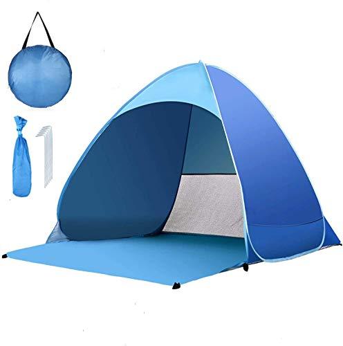 Strandmuschel Pop Up, Tragbar Extra Light Automatisches Strandzelt, Sun Shelter für 2-3 Personen, Einschließlich Tragetasche und Zeltpflöcke, UV-Schutz, Beach Zelt für Familie Strand Garten Camping