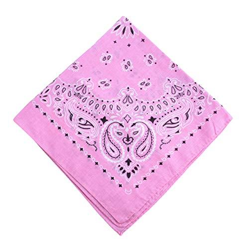 Yener katoenen bandana sjaal vierkante hoofddoek dames heren hiphop fiets bandana motorfiets bandana hoofddeksels sjaals hijab, roze, one size