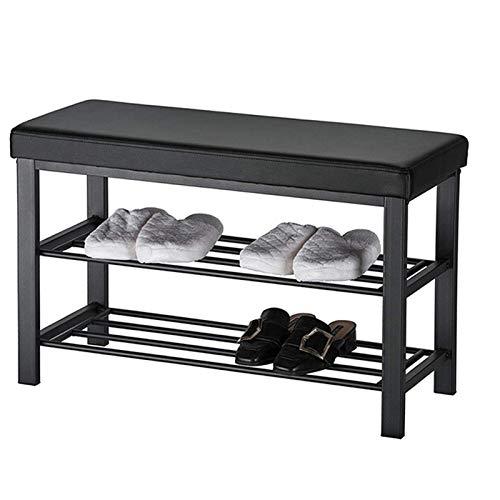 Banco de zapatos, perchero de zapatos de 2 niveles para entrada, organizador de almacenamiento con asiento acolchado de espuma, cuero sintético, marco de metal, para sala de estar, pasillo, 81 'L x 31