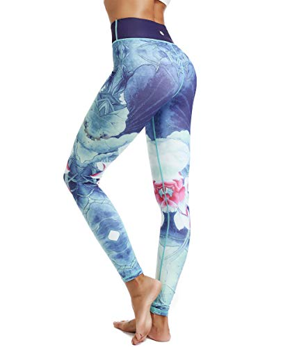 HAPYWER Yoga Leggings Damen High Waist Gym Sport Leggings Tummy Control Yoga Hosen Running Workout Kompressionsstrumpfhose Stretch Trainingshose mit Aufdruck(Hellblau,M)
