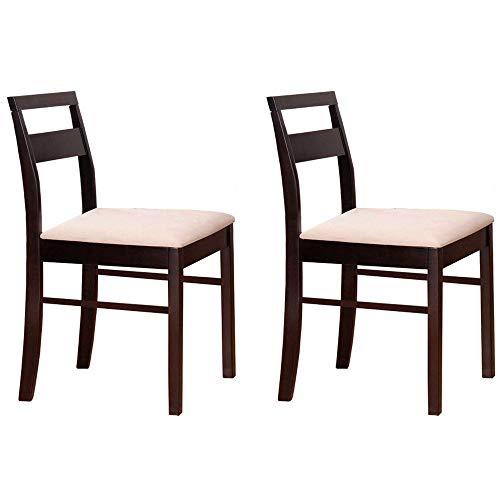 Pack 2 sillas Comedor salón Color wengué Madera Maciza tapizadas Blanco Estilo Moderno Mueble 45x43x83 cm