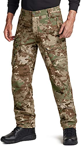 CQR Men's Winter Waterproof Softshell Tactical Hiking Cargo Pants, Outdoor Snow Ski Fishing Fleece Lined Insulated...