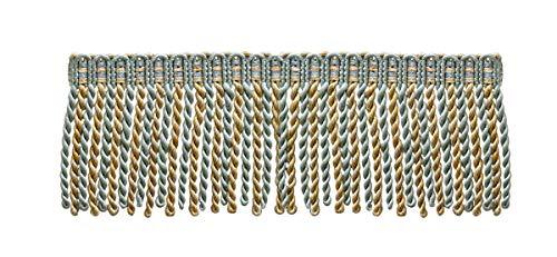 7,6 cm de long lingot Frange tailler, style # Db3 – Argent Bleu, Doré, Blanc cassé – Island Breeze 5939 (vendu au mètre)