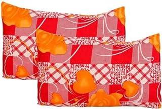 Zesture Bring Home Premium 3D Printed Floral Design Polyester Pillow Covers (Standard, Orange)- Set of 2