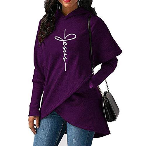 Sudaderas Jersey Sweater Sudaderas con Capucha para Mujer Sudaderas Tops Casuales Sudadera con Capucha Estampada Sudadera Navideña Cálida S Morado