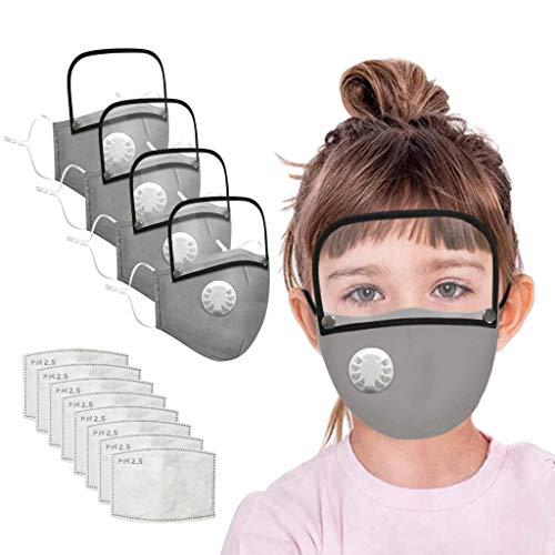 QUYYEI Schals SchutzSchals Stoff Waschbar Wiederverwendbar Aus Baumwolle Bunt MundStoff mit 2 Filters für Sport Training Mundschutz Staub GesichtsSchals mit abnehmbarem Augenschutz