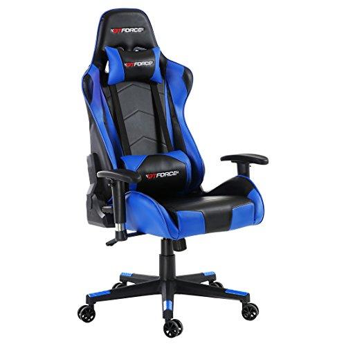 GTFORCE PRO FX - Gaming-Stuhl für E-Sport und Rennspiele - PC-Stuhl für das Büro - Liegepositionen - Kunstleder - Blau