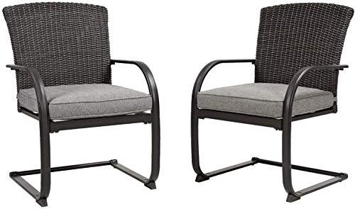 Grand Patio 2 PCS Patio Dining Wicker Chairs Set Outdoor Chair Garden Pool Backyard Metal Chair with Grey Cushion