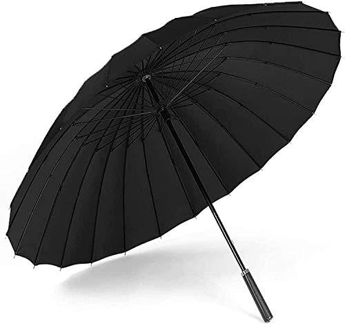 Paraguas portátil Doble piso 24 hueso asa recta paraguas, anti-viento tormenta negro mango largo paraguas super gran refuerzo paraguas de negocios (color: negro) Paraguas de viaje compacto a prueba de