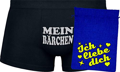 Herr Plavkin Geschenk | Mein Bärchen | Black Boxers | Blue Bag | Yellow ''Ich Liebe Dich ''