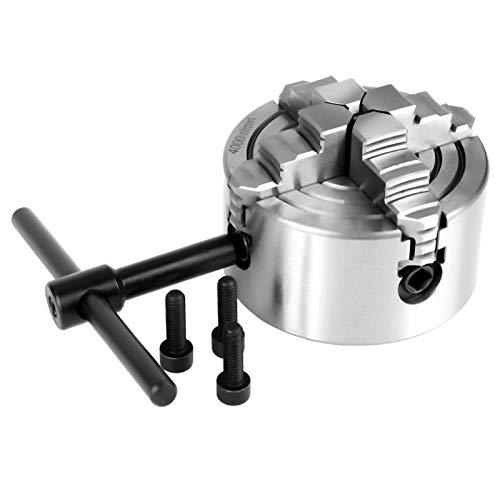 Mandril de torno de 4 mordazas, mini torno de metal, 3 pulgadas K72-80 4-mordaza independiente y reversible Mandril de torno de metal Accesorios para máquina de torneado