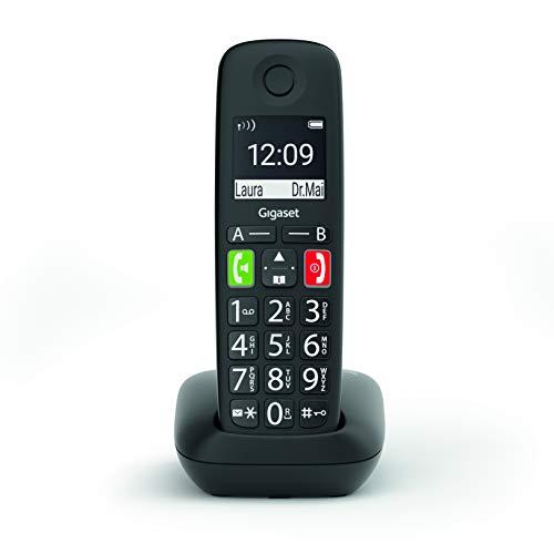 Gigaset E290 - Teléfono Fijo Inalámbrico con Teclas Grandes y Pantalla de Alta Visibilidad, Manos Libres, Compatible con audifonos, 1 Unidad